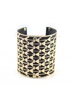 Popular Wide Gold Leather Alloy Bracelets
