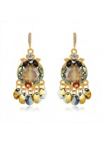 Women's Fashionable Petal Rain Crystal Earrings