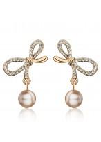 Fashionable Lovely Bowknot Pearl Pendant Crystal Earrings