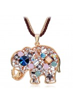 Classical Elephant Long Crystal Sweater Chain