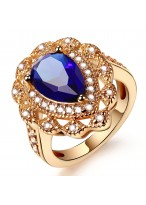 Fashionable Rose Gold Sapphire Heart Shape Crystal Ring
