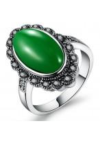 Retro Emerald Agate Flower Zircon Ring For Women