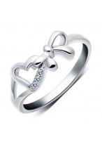 925 Sterling Silver Bowknot Love Peach Heart Ring For Women