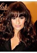 Lea Michele Braune Kappenlose Lange Wellen Synthetische Perücke