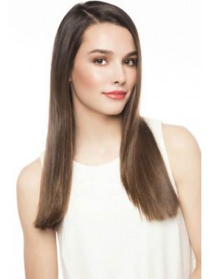 Lange Seidig Glänzende Haarschnitt Mit Seitenscheitel Perücke