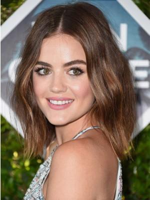 Lucy Hale Schulterlange Frisur Wellige Cut Perucke Fashion Promi