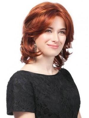 Mittellange Rote Wellen Haar Perücke Kaufen Mode Perücken