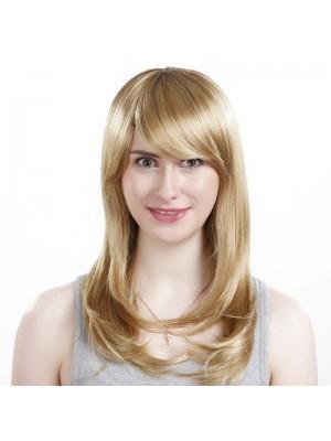 Modisch Weibliche Chemische Faser Schräger Pony Lange Gerade Blonde Haar Perücke