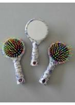 Blau und Weiß Porzellan Regenbogenbürste Dauerwellen Schöner Kamm mit Spiegel