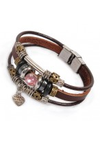 Fashionable Love Heart Multi Cow Leather Bracelets For Girlfriends
