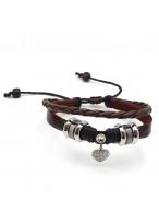 Women'S Fashionable Love Heart Leather Rope Bracelets