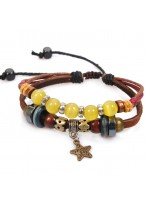 Unique Retro Multi Cow Leather Bracelets For Girls