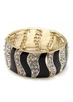 Wide Design Black Austrian Crystal Gold Plated Bracelets For Girls