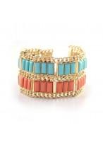 Double Color Wide Design Alloy Bracelets For Girls