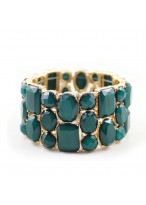 Fashionable Green Section Imitated Diamond Gold Elastic Force Bracelets