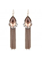 Bohemia Costly Crystal Tassel Ear Clip Earrings