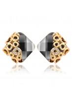 Women's Geometric Cubic Black Diamond Earrings