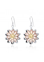 925 Silver Fashionable Lovely Sunflower Rose Gold Earrings