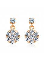 925 Sterling Silver Micro Inlays Diamond Rose Gold Flower Earrings