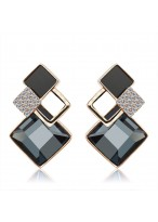 Unique Fashionable Squareness Crystal Earrings