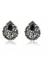 Retro Black Water Drop Diamond Inlaid Crystal Earrings