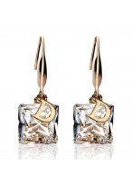 Bright Sparkle Letter D Crystal Earrings