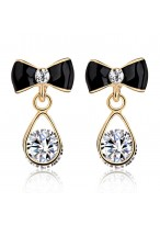 Women's Fashionable Bowknot Zircon Crystal Earrings
