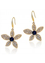 Fashionable Sparkle Five Leaves Flower Crystal Earrings