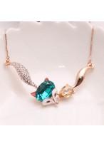 Elegant Fox Shape Blue Crystal Collar Bone Necklace