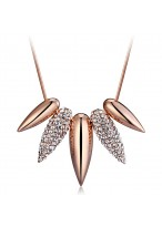 Fashionable Retro Double Colored Crystal Collar Bone Necklace
