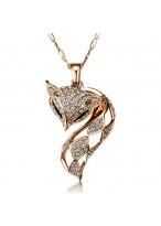 Fashionable Seductive Fox Rose Gold Plated Collar Bone Necklace