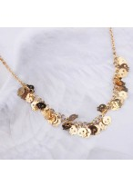 Exquisite Death'S-Head8K Gold Plated Collar Bone Necklace
