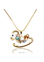 204 New Rhinestone Little Rocking Horse Collar Bone Necklace
