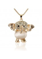 204 Summer'S Lovely Opal Little Elephant Long Necklace