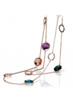 Fashionable8K Gold Plated Crystal Sweater Chain