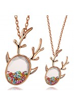 Fashionable Rose Gold Colorful Zircon Necklace