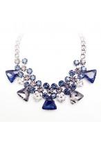 204 New Wind Blue Crystal Short Collar Bone Necklace