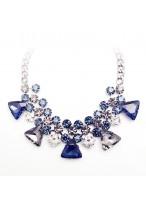 204 New Wind Blue Crystal Short Collar Bone Necklace