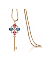 New Austrian Crystal Long Lock Shape Necklace