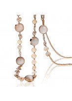 Elegant Opal Hollow Out Rose Long Necklace