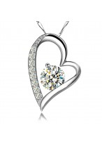 Heart Shape 925 Sterling Silver Collar Bone Necklace For Lovers