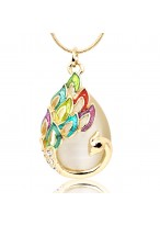 Colorful Plumage Opal Short Collar Bone Necklace For Women