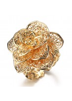 Fashionable Hollow Out Flower Gold Plated Index Finger Ring