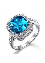 Fashionable Sapphire Micro Zircon Inlaid Crystal Ring For Women