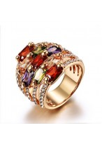 Fashionable Rose Gold Plated Crystal Ring For Goddess