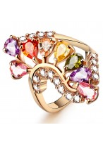 New 204 Colorful Zircon Hollow Out Flower Rose Gold Ring