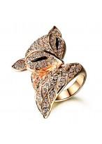Charming Fox Rose Gold Inlaid Swiss Diamond Ring