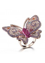 Unique Butterfly Shape Rose Gold Plated Swiss Diamond Ring