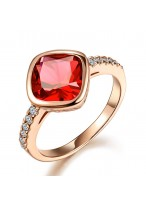 Fashionable Synthetic Ruby Crystal Ring For Lovers