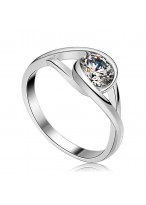 Fashionable S925 Swarovski Zircon Inlaid Sterling Silver Ring